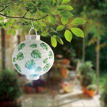 6pk Paper Lantern Outdoor Patio Hanging Decoration Lights LED Green Leaf - £10.99 GBP