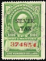 RG21, Used VF $100 Silver Tax Stamp - Scarce! Cat $50.00 - Stuart Katz - $40.00