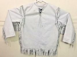 QASTAN Men's Native American Mountain Man Beige Goat Suede Leather Shirt FJ1039 - $99.00 - $119.00