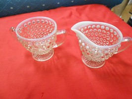 Great Collectible MOONSTONE Hobnail Opalescent SUGAR and CREAMER....SALE - $6.24