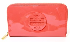 Tory Burch Womens Stacked Patent Zip Purse Wallet Poppy Coral Orange - $195.53