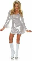 Underwraps Disco 70s White Silver Dress GoGo Dance Adult Halloween Costu... - $26.99