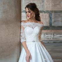 Sexy Off The Shoulder Half Sleeve Lace Bride Dresses Lace Up Back Wedding Ball G
