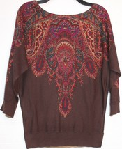 Chaps by Ralph Lauren Petite Chocolate Brown Paisley Print Brown Dolman Sweater - $39.98