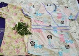 Lot Of 2 Cherokee/ SB Scrub Tops Women's Small Size Floral Print Multicolor - $16.82