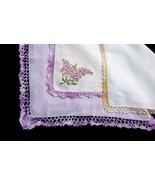 Lot of Three  (3) Pretty Linen Handkerchiefs Crochet Lace Yellow Pink La... - $11.90