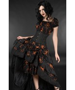 Black Orange Octopus Steampunk Corset Back Long 3 Layer Victorian Goth S... - $66.01
