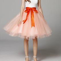 Women PEACH PINK Tulle Skirt 6 Layer Knee Length Tulle Skirt Midi Cocktail Skirt image 1