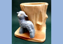vintage/antique EARLY PLANTER ~BLUE LAMB,TREE STUMP original price 25c o... - $24.95
