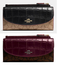 Coach Pop Slim Wallet Signature Exotic Mix Medi... - $72.56