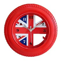 Panda Superstore Creative Union Jack Tire Shape Wall Clock Fashion Look Home Dec