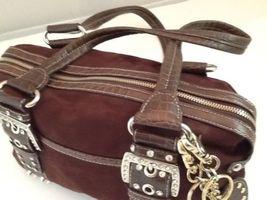 Kathy Van Zeeland Brown Studded Rhinestone Buckle Straps Faux Suede Two Keychain image 5