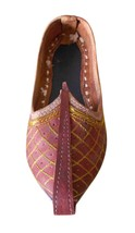 Men Shoes Indian Handmade Brown Mojaries Leather Espadrilles Flat Jutti US 9  - $34.99