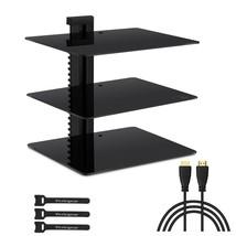 Three Floating Glass Shelves Wall Mount Bracket PS4 XBOX DVR DVD TV AV s... - $36.45