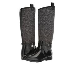 Michael Kors MK CHARM Black White Stretch Tall Rain Boots Shoes Multi Si... - $129.99