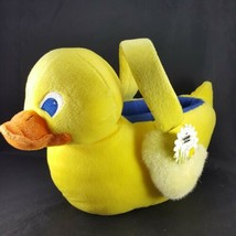 Plush Yellow Ducky Easter Basket Duck Shaped Its Easter For Peepsake Blu... - $19.79