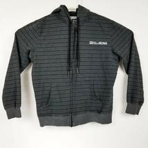 Billabong Mens Black Gray Striped Full Zip Hoodie Embroider Spellout Siz... - $17.57