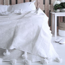 Moroccan White Pom Pom Blanket Cotton, xLarge King size bed, Bohemian bed cover - $147.51