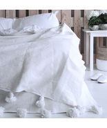 Moroccan White Pom Pom Blanket Cotton, xLarge King size bed, Bohemian be... - $147.51