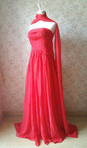 Elegant Red Strapless Sheer Mermaid Maxi Dress Chiffon Sheath Red Evening Dress