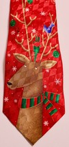 Hallmark Holiday Traditions Mens Red Christmas Reindeer Snowflakes Neckt... - $4.25