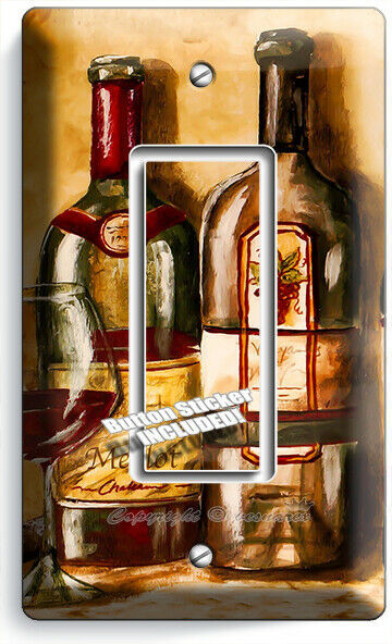VINTAGE TUSCAN WINE BOTTLES COLLECTION LIGHT SWITCH OUTLET PLATES KITCHEN DECOR image 3
