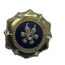 Vtg Coro Pegasus Brooch Gold Tone Regal Blue Crystal Faux Pearl - $28.01