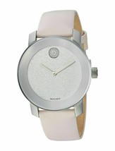 BRAND NEW WOMENS MOVADO (3600522) BOLD SILVER GLITTER DIAL PINK LEATHER ... - $326.69