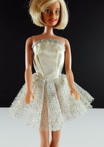 Barbie Clone White Satin Silver Shimmer Strapless Mini Dress 1960s Clothing - $19.79
