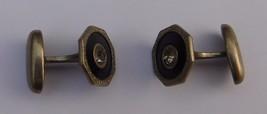 Antique Silver Celluloid Cufflinks Plated Black Paste Rhinestone Octagon - $25.00