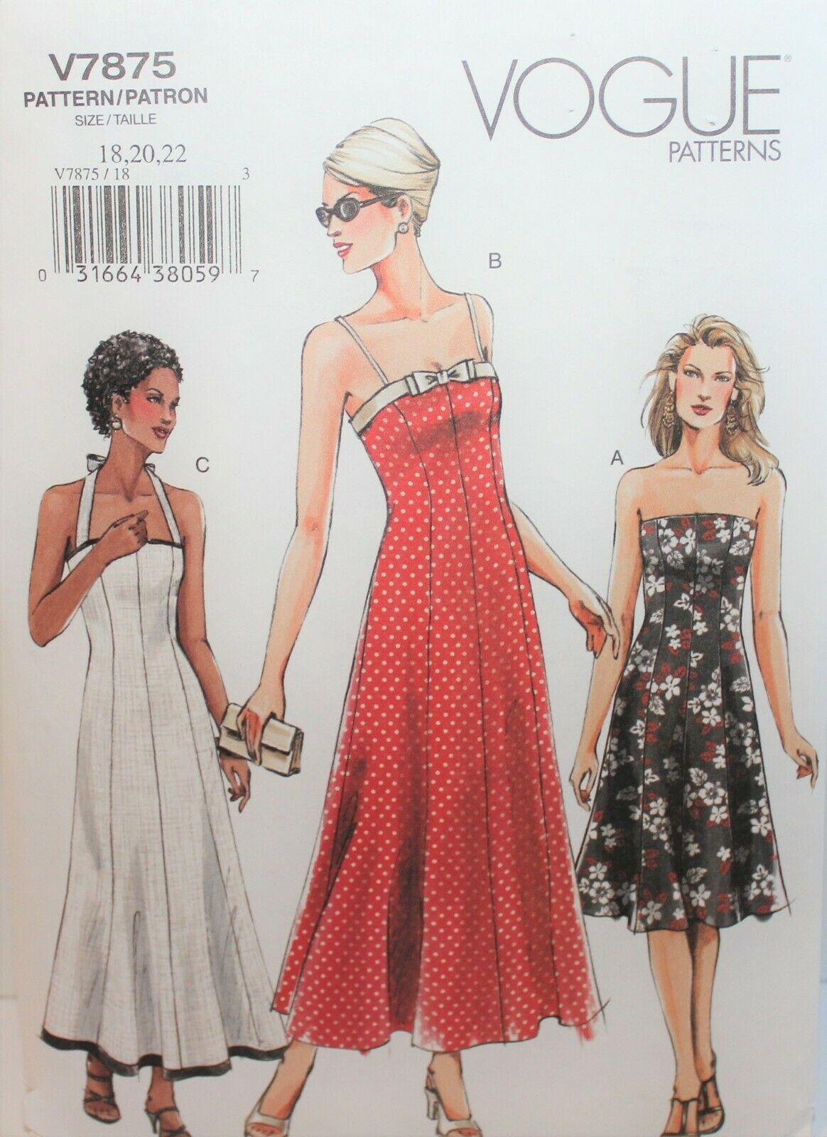 Vogue Sewing Pattern 7875 Misses Dress Halter Strapless Size 18 20 22