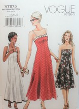 Vogue Sewing Pattern 7875 Misses Dress Halter Strapless Size 18 20 22 - $14.50