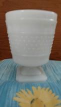 {LOOK} Napco Vintage White Milk Glass Panel Hobnob Vase on Pedestal Foot signed - $9.49
