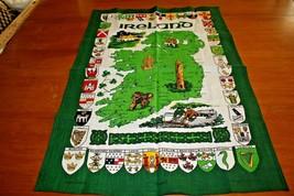 Kitchen Dish Tea Towel Vintage Unused Pure Linen Map of Ireland Souvenir... - $12.93