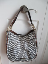 Vtg Liz Claiborne Zebra Print Bag Tote Purse, Brown Trim - $19.34