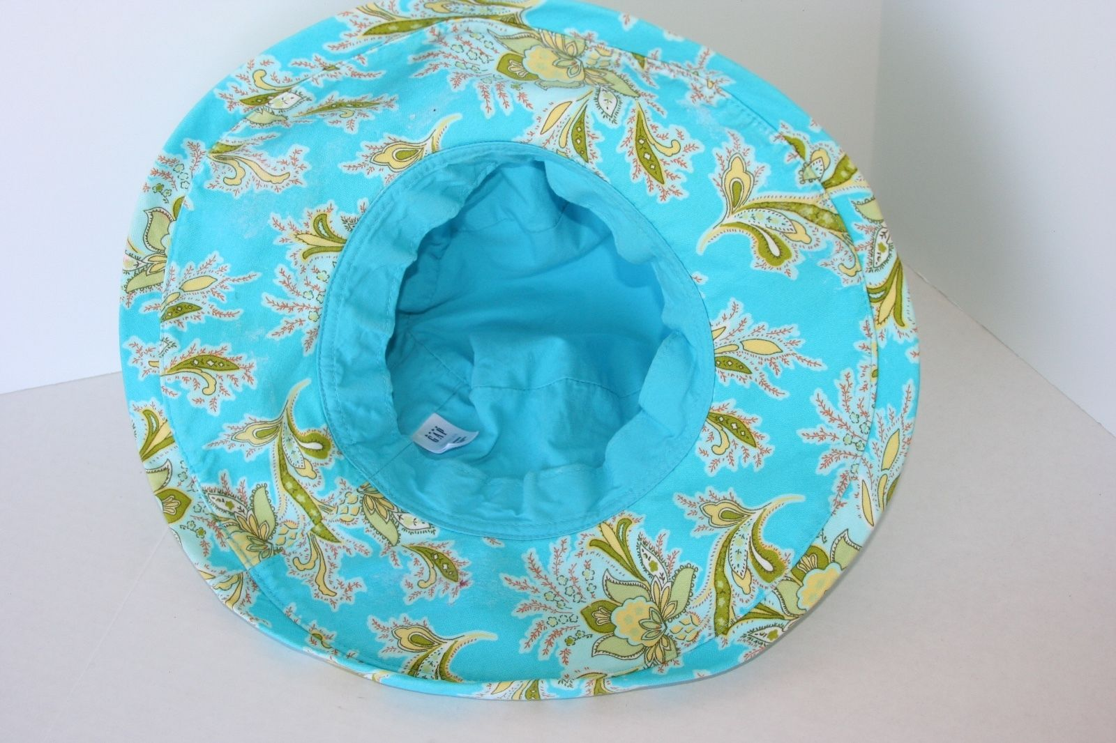 baby GAP Turquoise Sun Hat Olive Green Floral Toddler 4-5 years 74a75d39263c