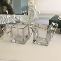 Vtg 1930 Heisey Quator #355 Art Deco Glass Cream & Sugar Modernist Cube Diamond - $34.64