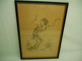 Antique Artist Signed GEISHA INK SKETCH DRAWING Wall Hanging Picture Art... - $98.99