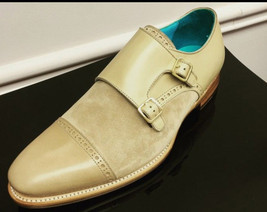 Handmade Men's Beige Two Tone Double Monk Strap Dress/Formal Leather & Suede Sho image 3