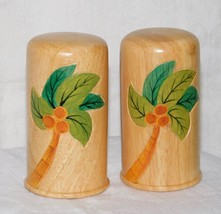 Vintage Hand Painted Coconut Tree Design Wood Salt Pepper Shaker Set by ... - $9.99