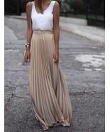 New beige metallic pleated long skirt maxi length spring summer golden m... - $49.00