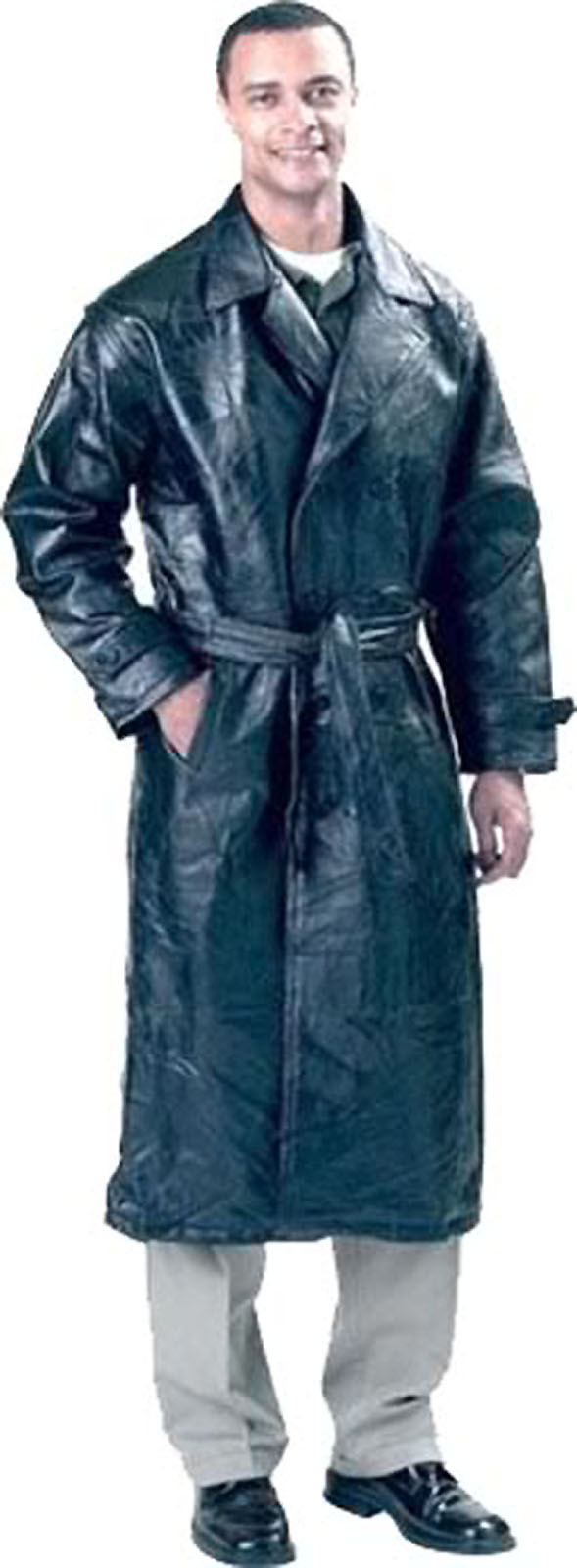 Mens Black Leather Trench Coat Full Length Duster Lined Button Front