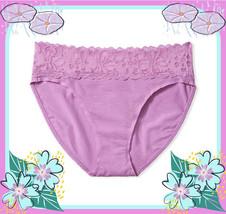 L XL Rich Lilac Stretch Cotton Victorias Secret High-Leg LACE Waist Brie... - $10.99