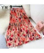 Women Chiffon Skirt Summer Flower Elegant Pleated Skirt Ladies Vintage High - $23.75+