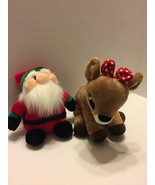 Lot of 2 Rudolph The Red Nose Reindeer-Girl Deer And Santa Claus Plush - $9.49