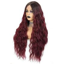 Long Wavy Lace Front Wigs For Women 24 Inch Deep Wave Wig Ombre Burgundy Synthet image 2