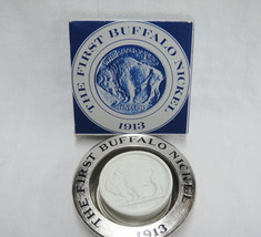 Avon 1913 Buffalo Nickel Clint Soap for Men and Silvertone Dish with Box... - $8.70