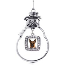 Inspired Silver German Shepherd Face Holiday Ornament - $14.69