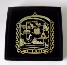 Utah State Landmarks Brass Ornament Black Leatherette Box - $14.95