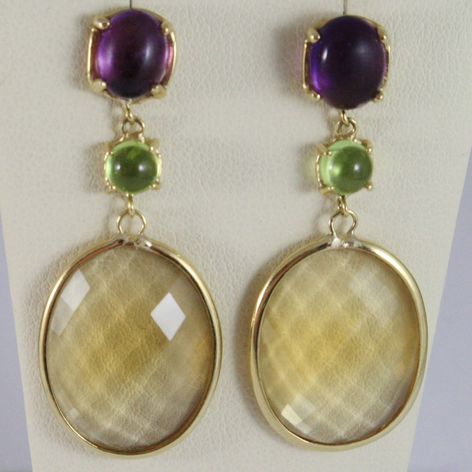 9K YELLOW GOLD PENDANT EARRINGS, CUSHION CITRINE, AMETHYST AND GREEN PERIDOT
